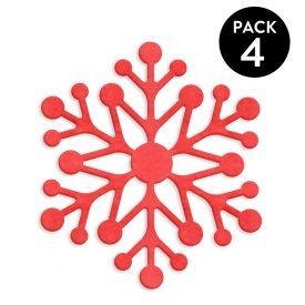 Natale Accessori tavola per Natale Kit 4 Sottopiatti Fiocco Di Neve