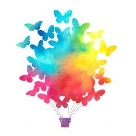 Bambini Wallstickers e luminescenti Mongolfiera Farfalle